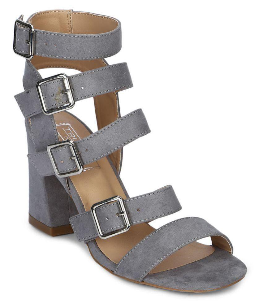 Truffle Collection Gray Block Heels