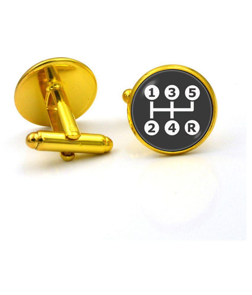 Kamalife Fashion Golden Alloy Letter Gem Cufflinks&Buttons Jewellery Accessories Gift