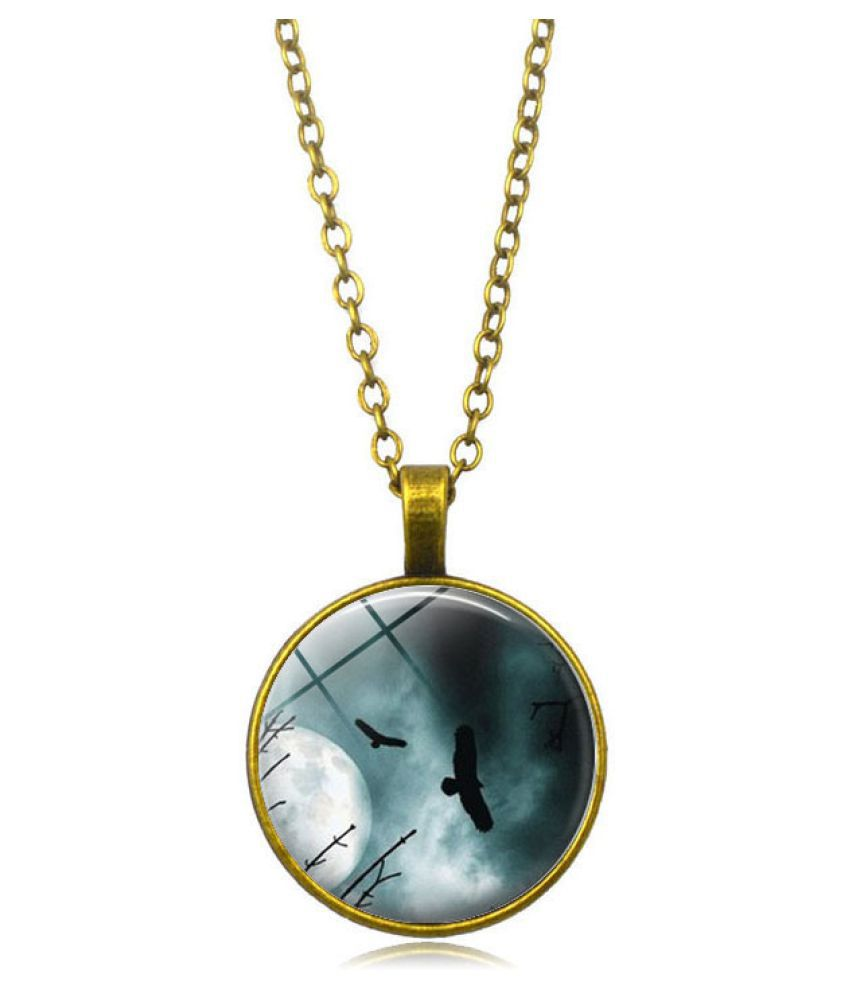 Kamalife Fashion Golden Pendant Gem Bling Ice Out Necklace Accessories Gift