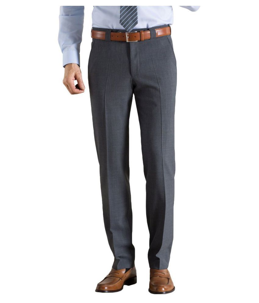Viewmore Grey Regular -Fit Pleated Trousers