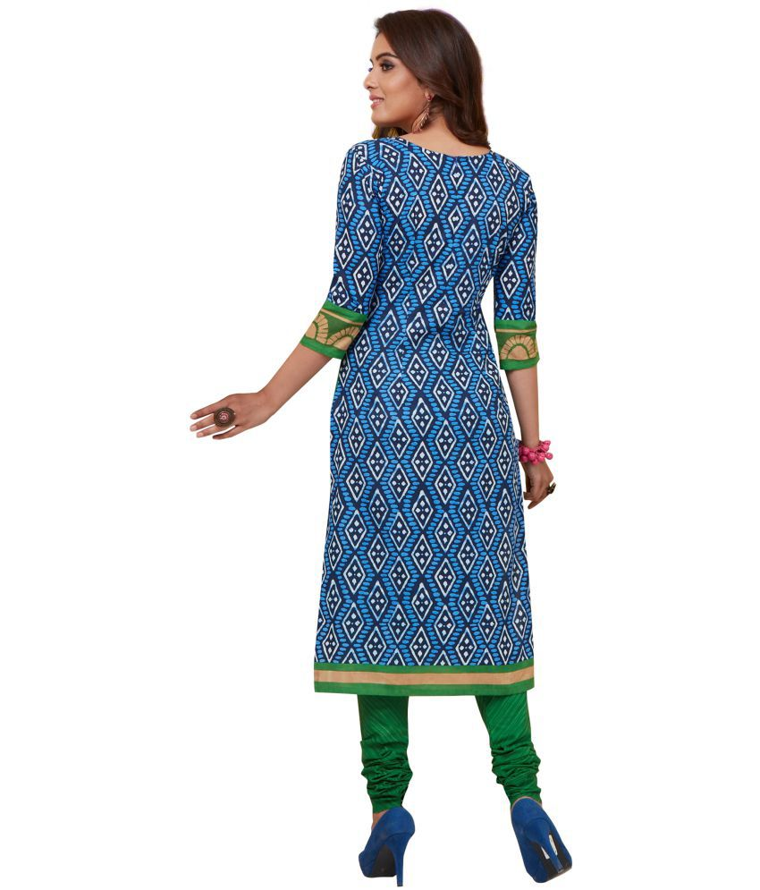 ae1fefccce Padmini Green and Blue Cotton Dress Material - Buy Padmini Green and ...