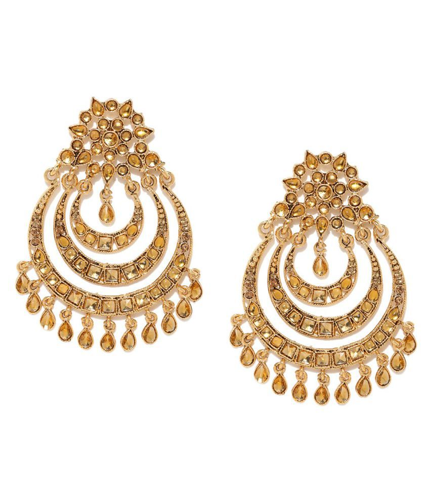 Zaveri Pearls Antique Gold Tone Muti Layer Chandbali Earring Zpfk6996 Online At