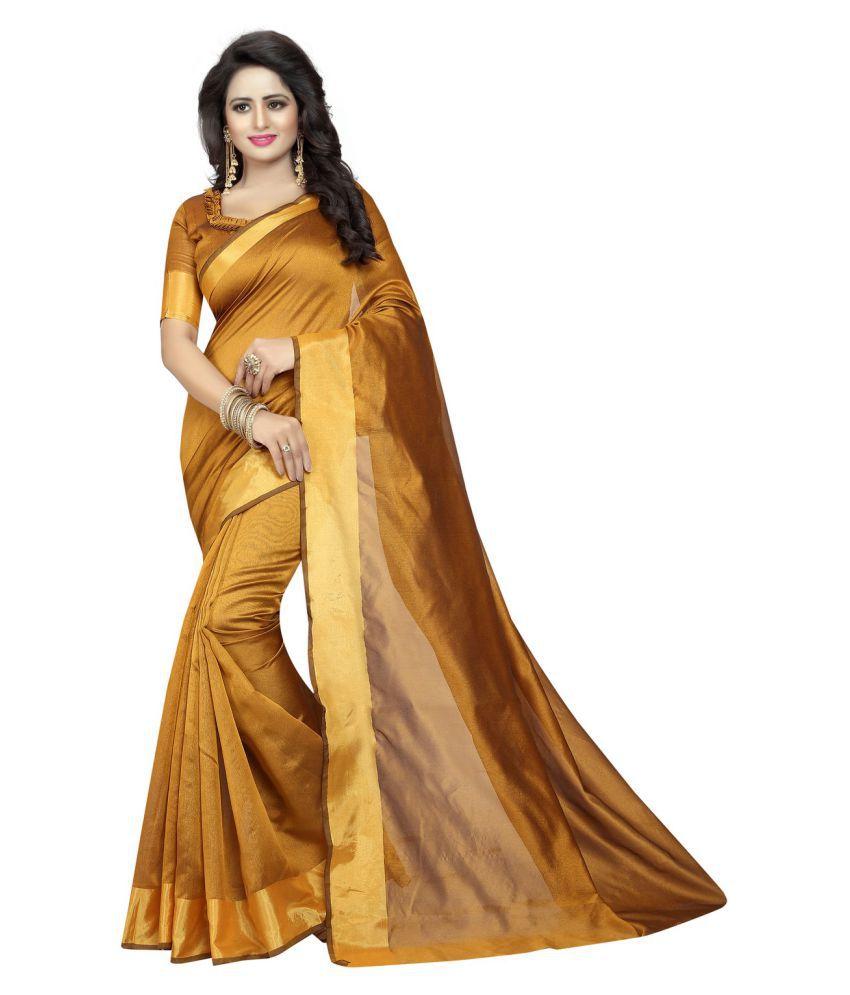 Antoniya Yellow and Brown Cotton Silk Saree