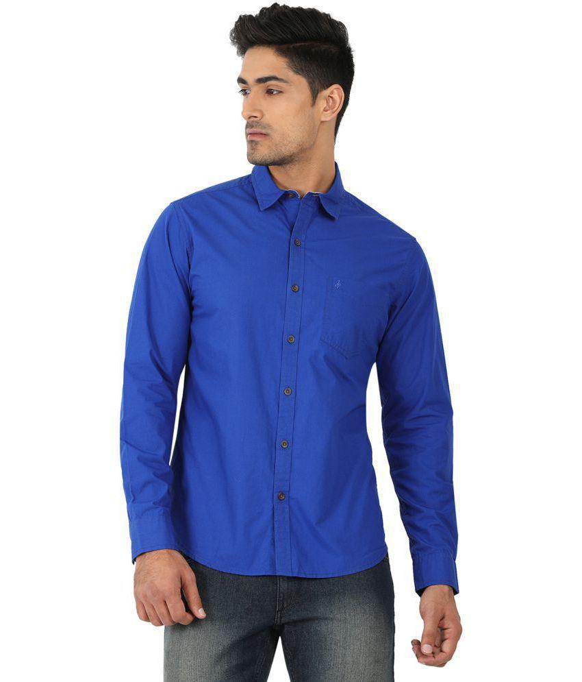 John Players Blue Slim Fit Shirt