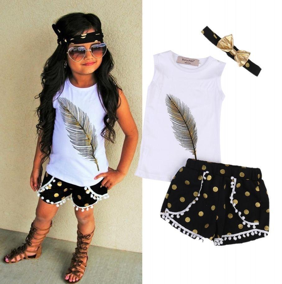 7d011f99de02 Toddler Kids Girls Clothes Sets Tops Sleeveless Vest Shorts Headband ...