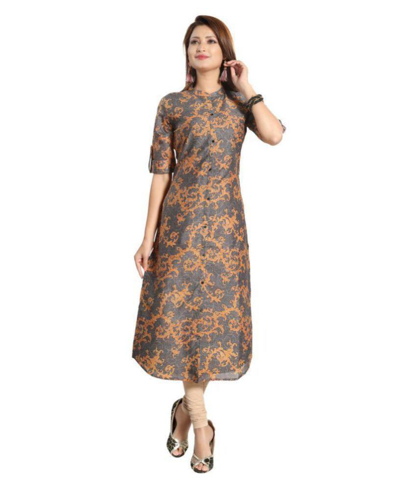 CELEBRAVO Grey Chanderi Straight Kurti