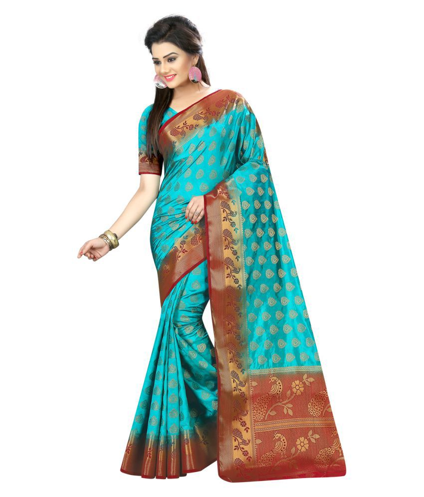 Wkart Blue Nylon Saree