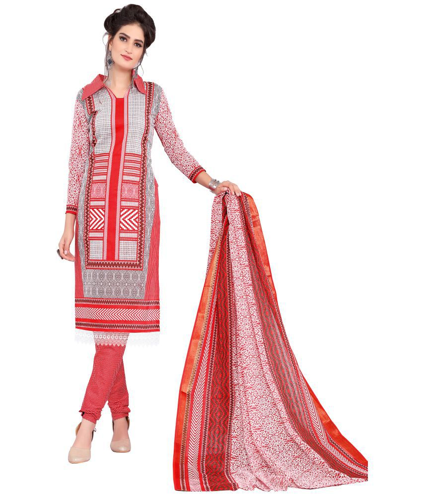 Minu Red Cotton Dress Material