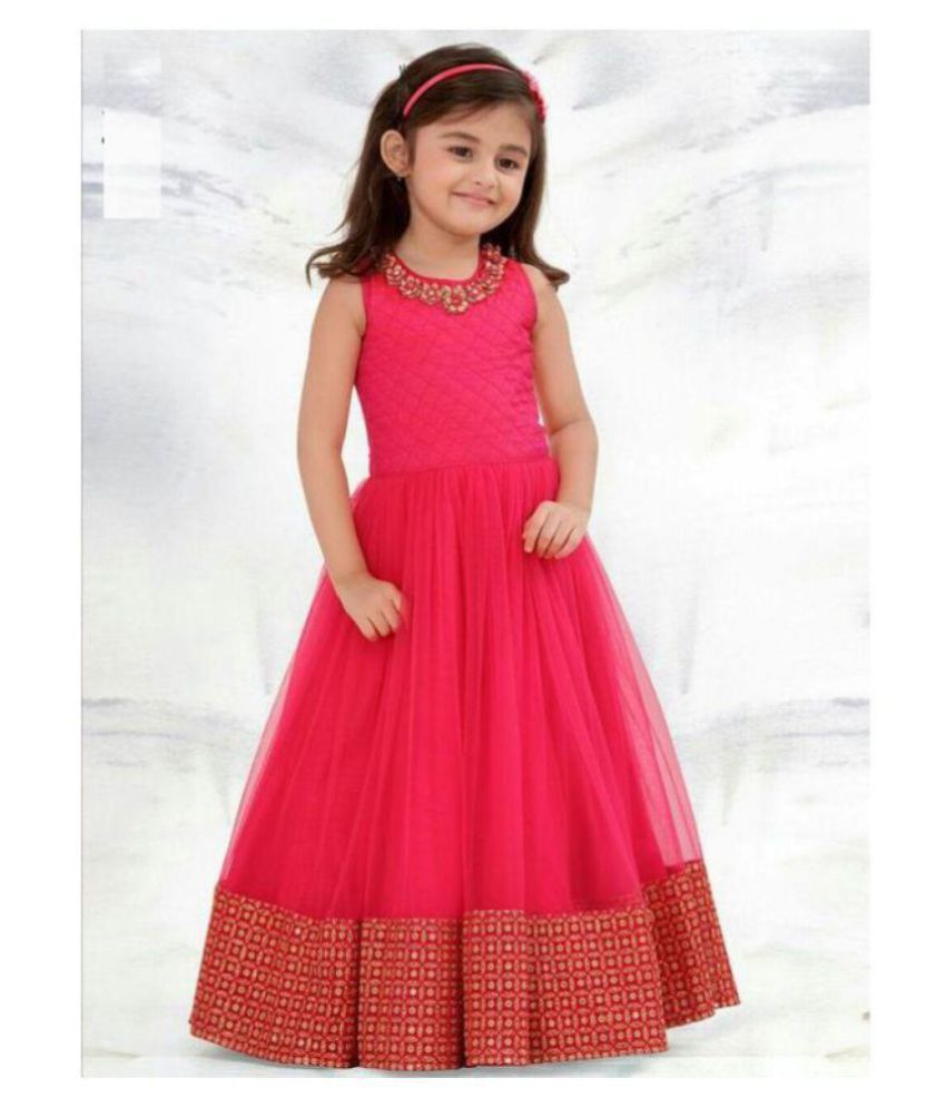 b00daa6d198 White Button Designer New Latest Pink Form with Golden Embroidery Lace Party  wear Ready Made Gown Dress for Girls - Buy White Button Designer New Latest  ...
