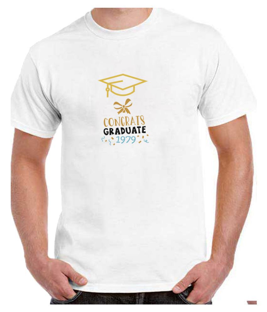Ritzees Unisex Half Sleeve Dry Fit White Polyester T-Shirt on Graduation Year-L