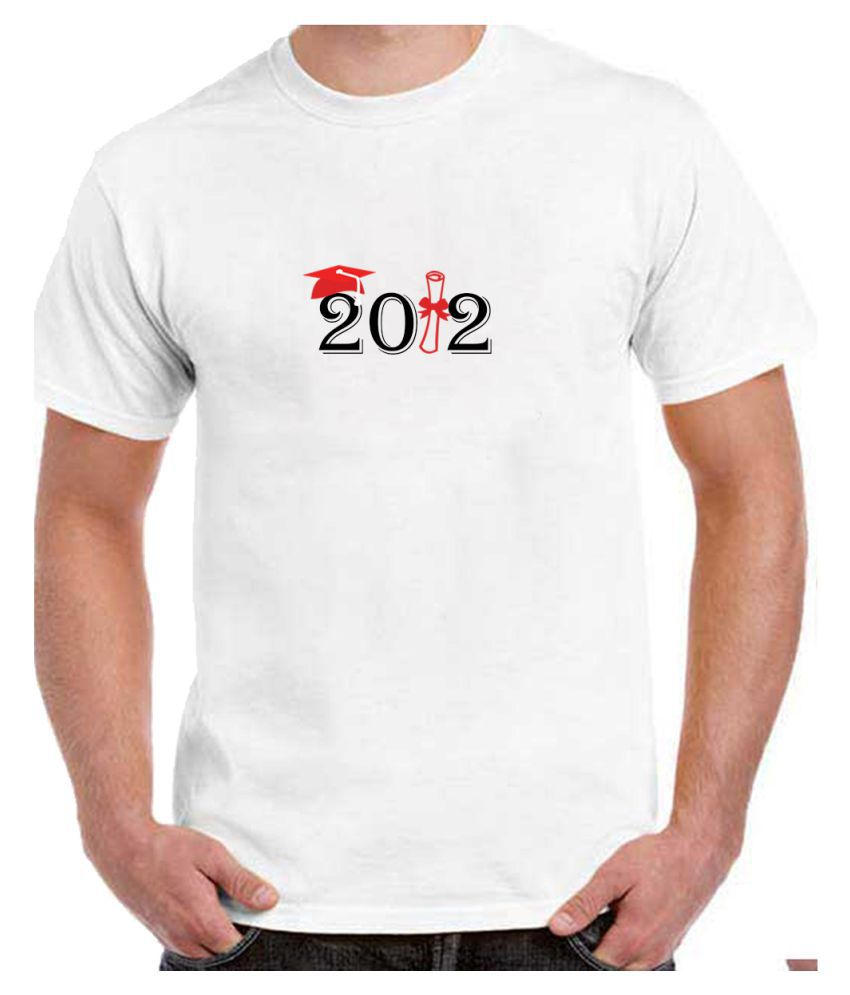 Ritzees Unisex Half Sleeve Dry Fit White Polyester T-Shirt on Graduation Year-M