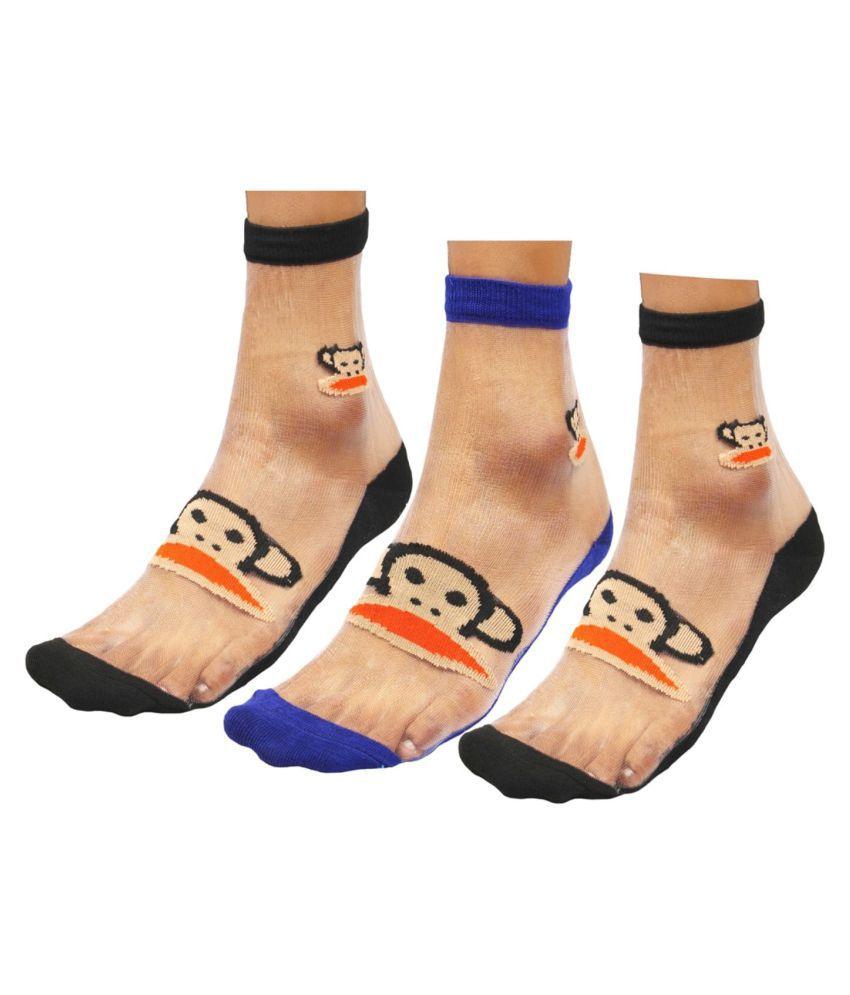 Neska Moda Women's 3 Pairs Cotton Ankle Length Net Socks-Blue,Black-S863