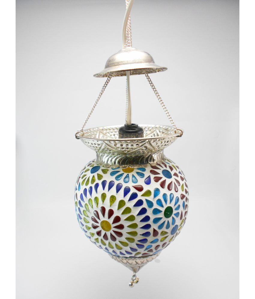 Susajjit Decor Glass Decorative Hanging Lamp Ceiling Night Lamp Pendant Multi - Pack of 1