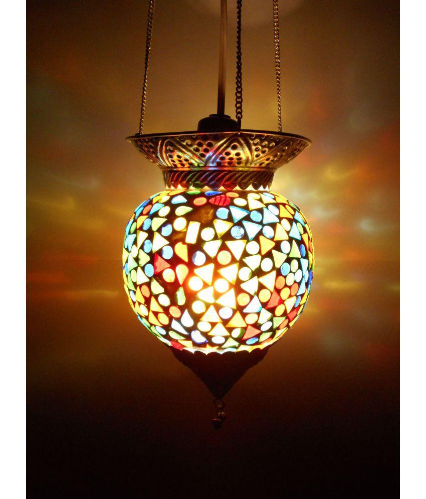 Susajjit Decor Glass Decorative Mosaic Hanging Lamp Pendant Multi - Pack of 1