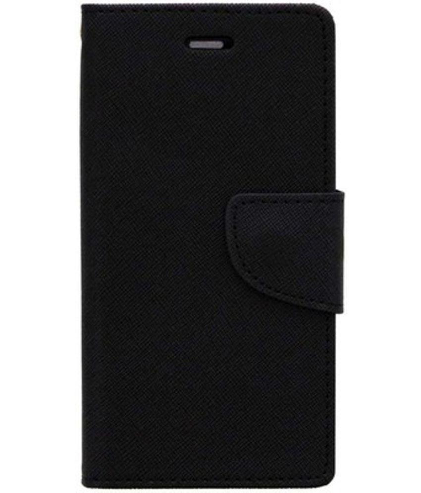 Micromax Canvas 2.2 A114 Flip Cover by Kosher Traders - Black Premium Mercury