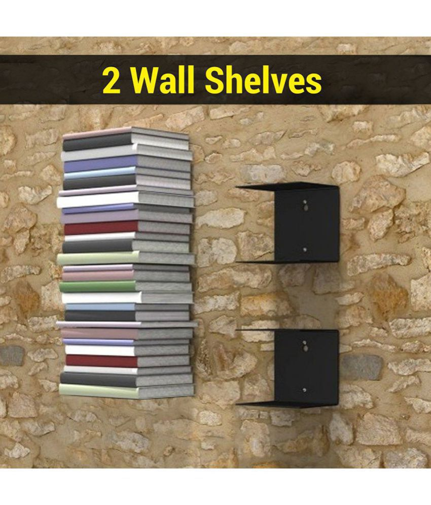 Shanaya Floating Shelves Black Stainless Steel - Pack of 2