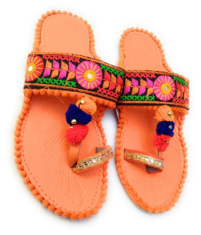 Fashion World Orange Ethnic Footwear