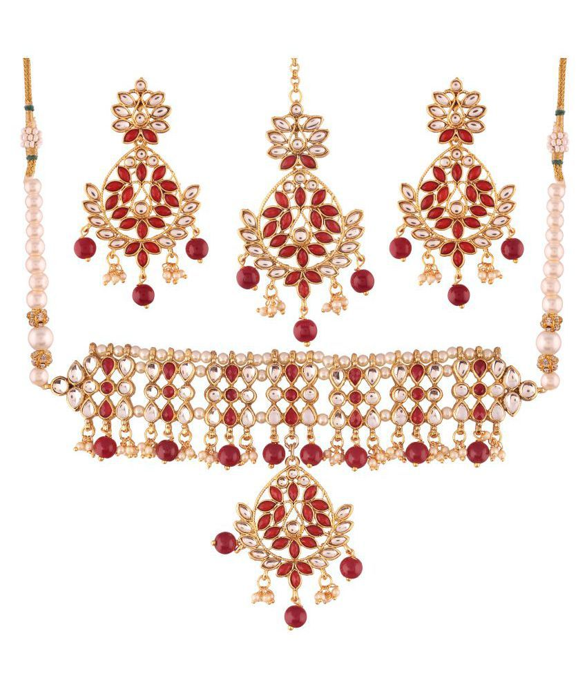 I Jewels Gold Plated Traditional Kundan Necklace Set with Earrings & Maang Tikka For Women (K7061M)