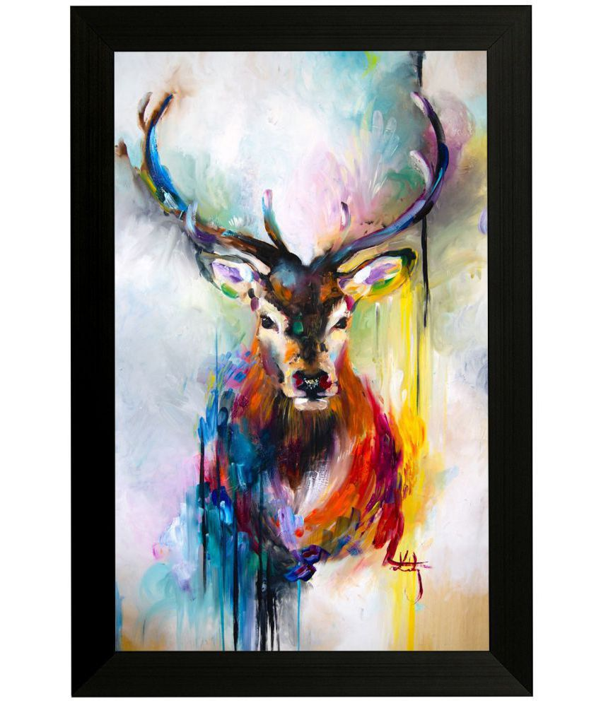 Style as Fashion Deer Abstract MDF Painting With Frame