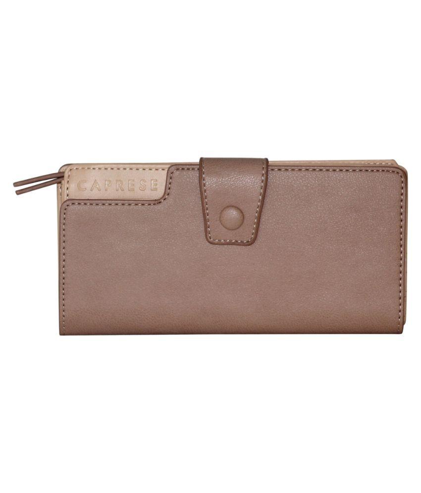 Caprese Brown Faux Leather Wristlet