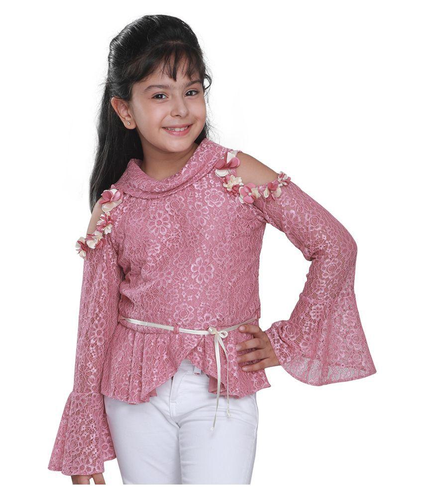 Cutecumber Girls Partywear Lace Fabric Top