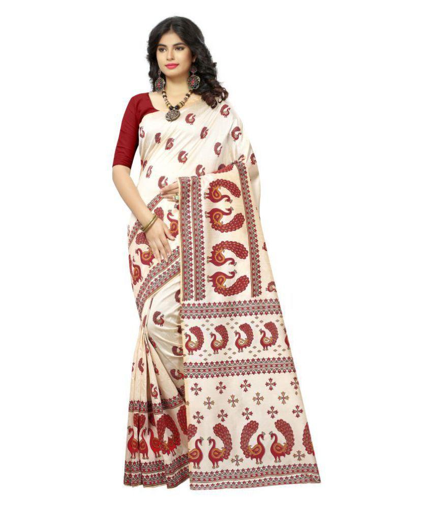 Today Deal Beige Bhagalpuri Silk Saree