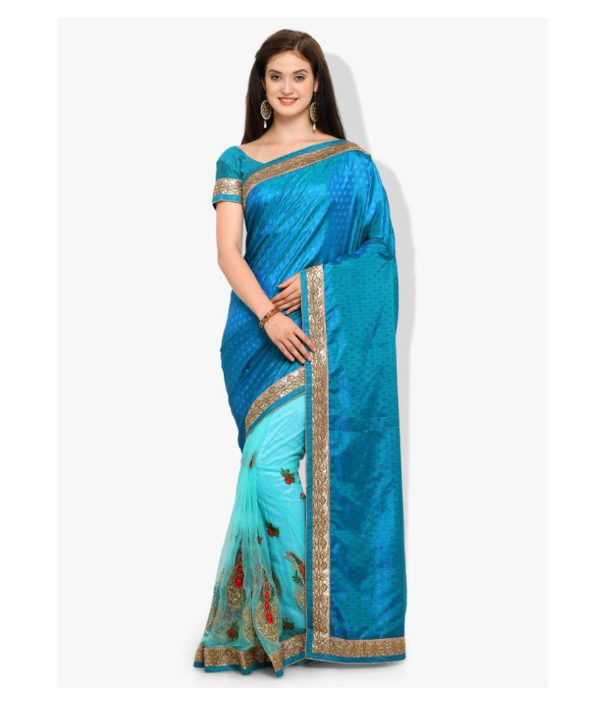 Four Seasons Green and Blue Crepe Saree