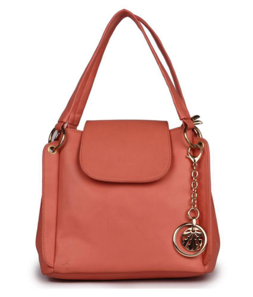 Women marks Peach P.U. Shoulder Bag