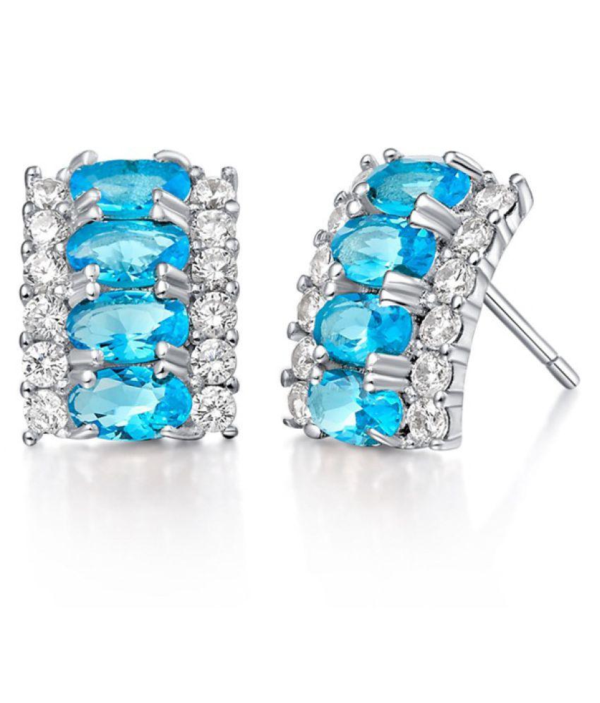 Kamalife Fashion White Silver Diamond Earrings Accessories