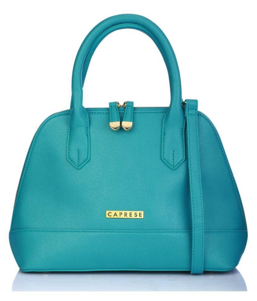 Caprese Blue Faux Leather Satchel Bag