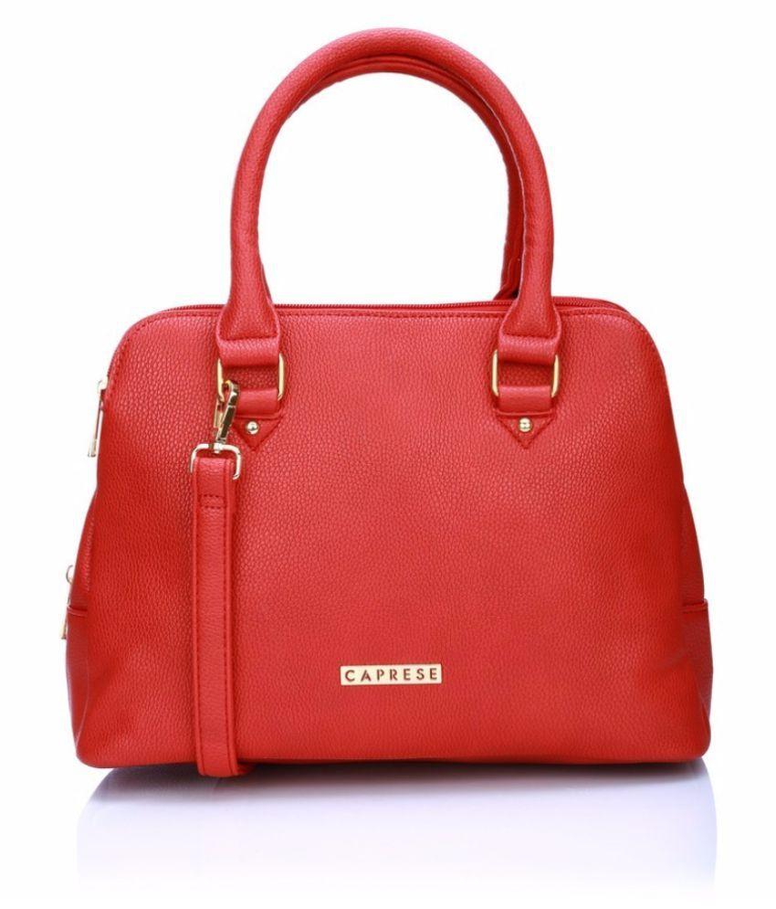 Caprese Orange Faux Leather Satchel Bag