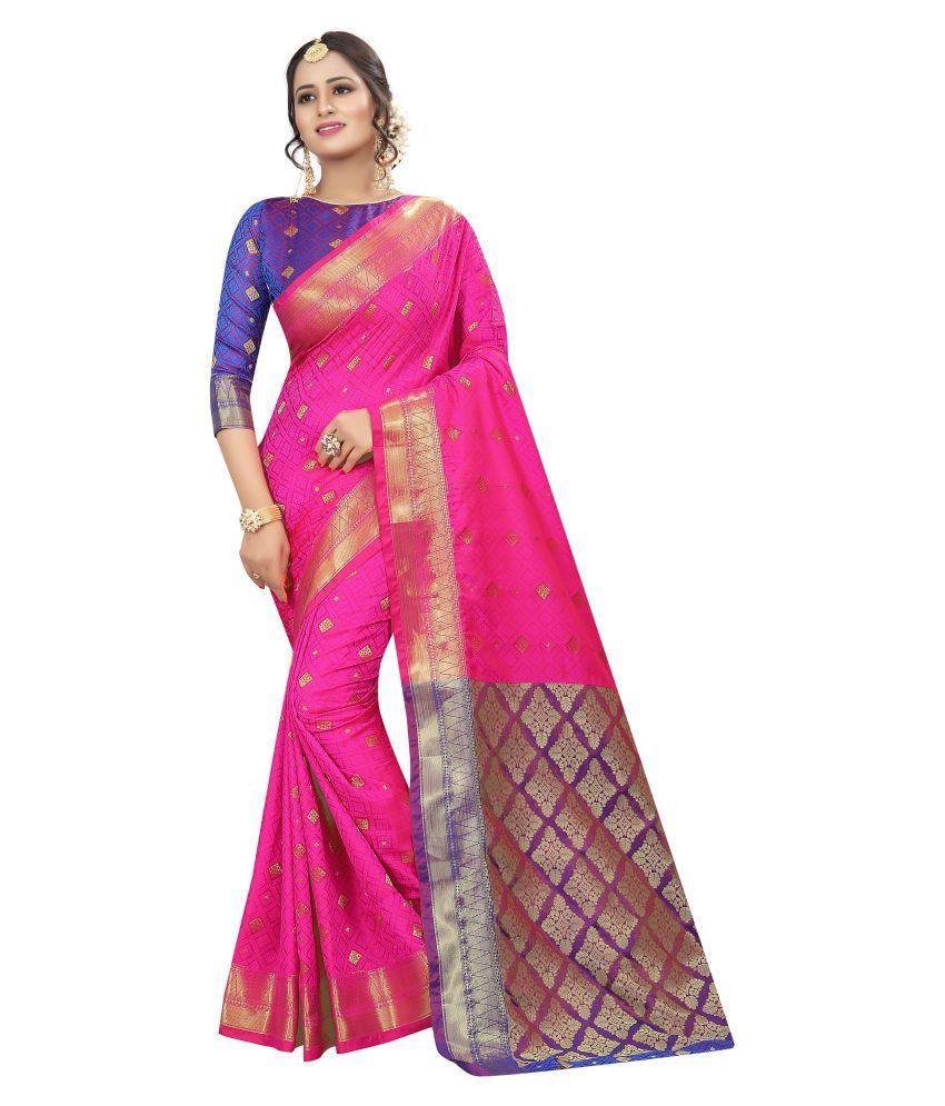 Kalapy Fashion Pink and Beige Banarasi Silk Saree