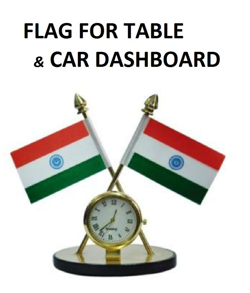 Indian Flag with Quartz Watch for Table / Car Dashboard Decoration & Official Purpose