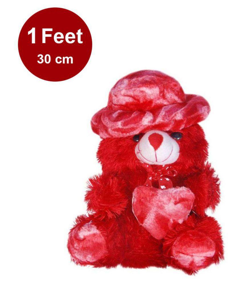AVS Stuffed Spongy Soft Cute Cap Teddy Bear (Red Color 30cm)