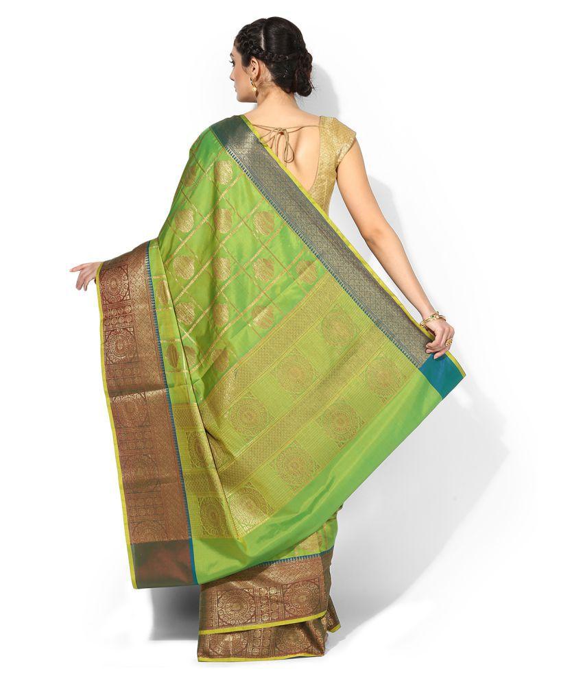 Banarasi Silk Works Green and Beige Banarasi Silk Saree