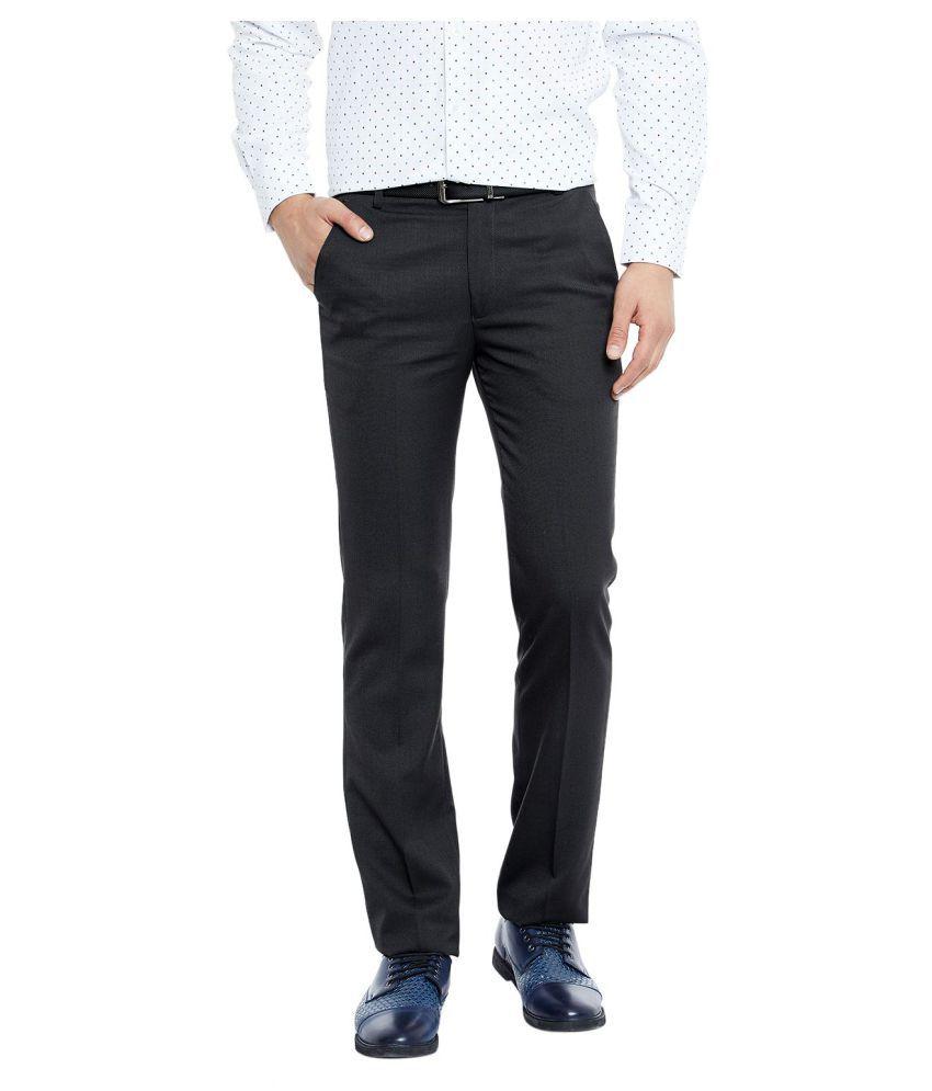 Canary London Black Slim -Fit Flat Trousers
