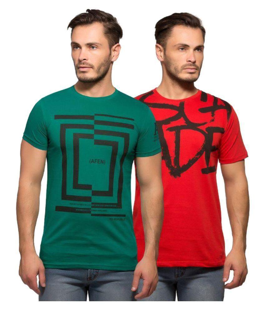 Yo Republic Multi Half Sleeve T-Shirt Pack of 2