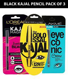 Maybelline,L'Oreal & Lakme Kajal Pencil Black Pack of 4