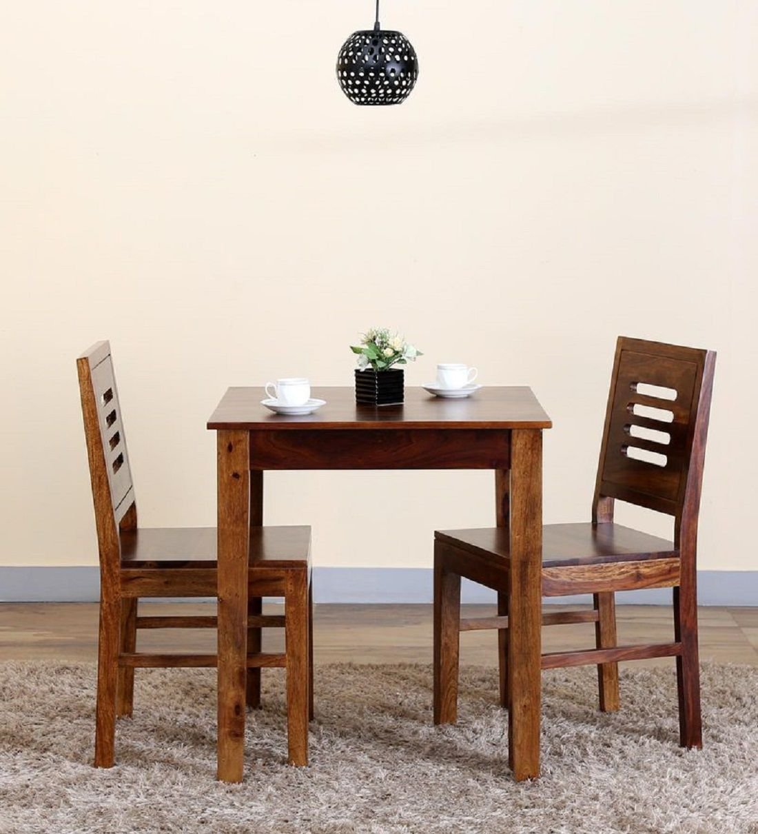 Two Seat Dining Set: Ethnic India Art 2 Seater Dining Set/table In Sheesham
