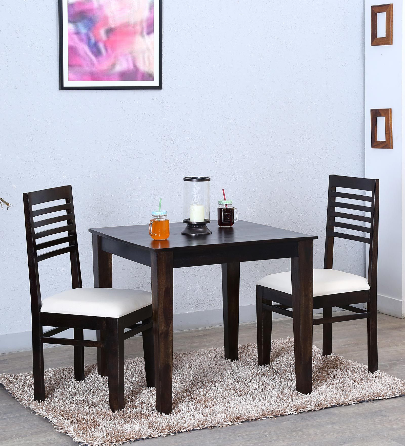 Ethnic India Art 2 Seater Dining Set Table In Sheesham Wood Teak