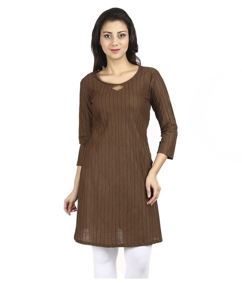 Vaijyanti Brown Cotton A-line Kurti