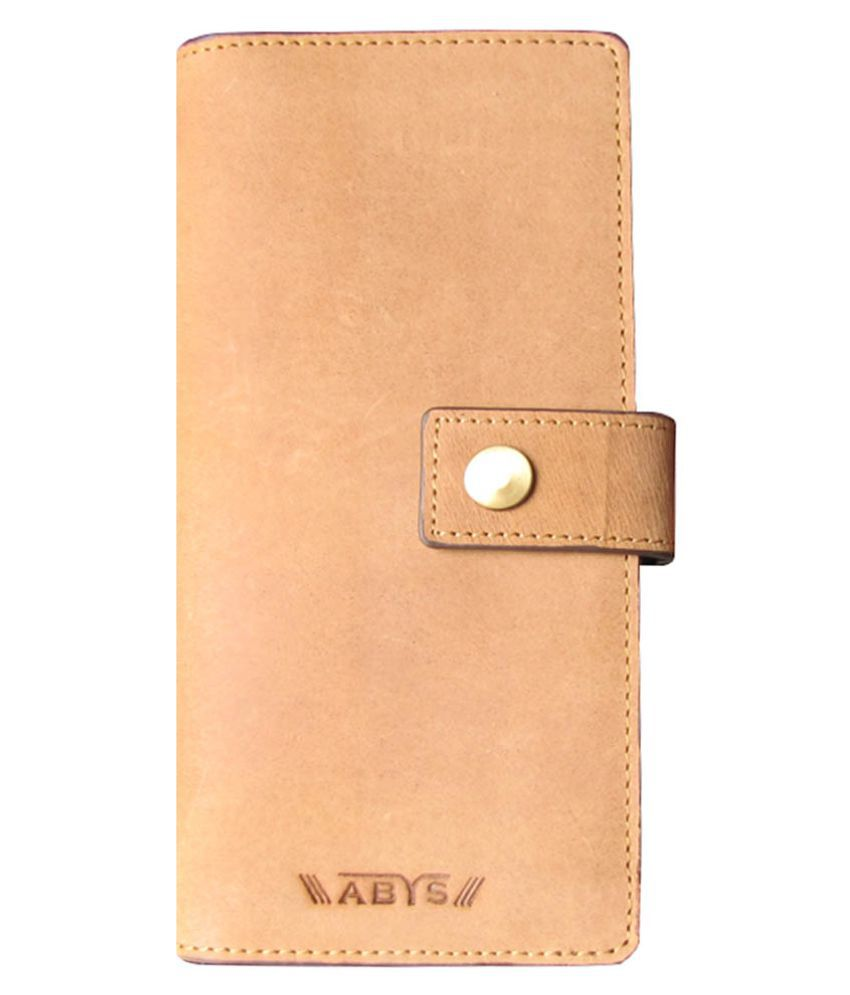 ABYS Tan Pure Leather Box Clutch