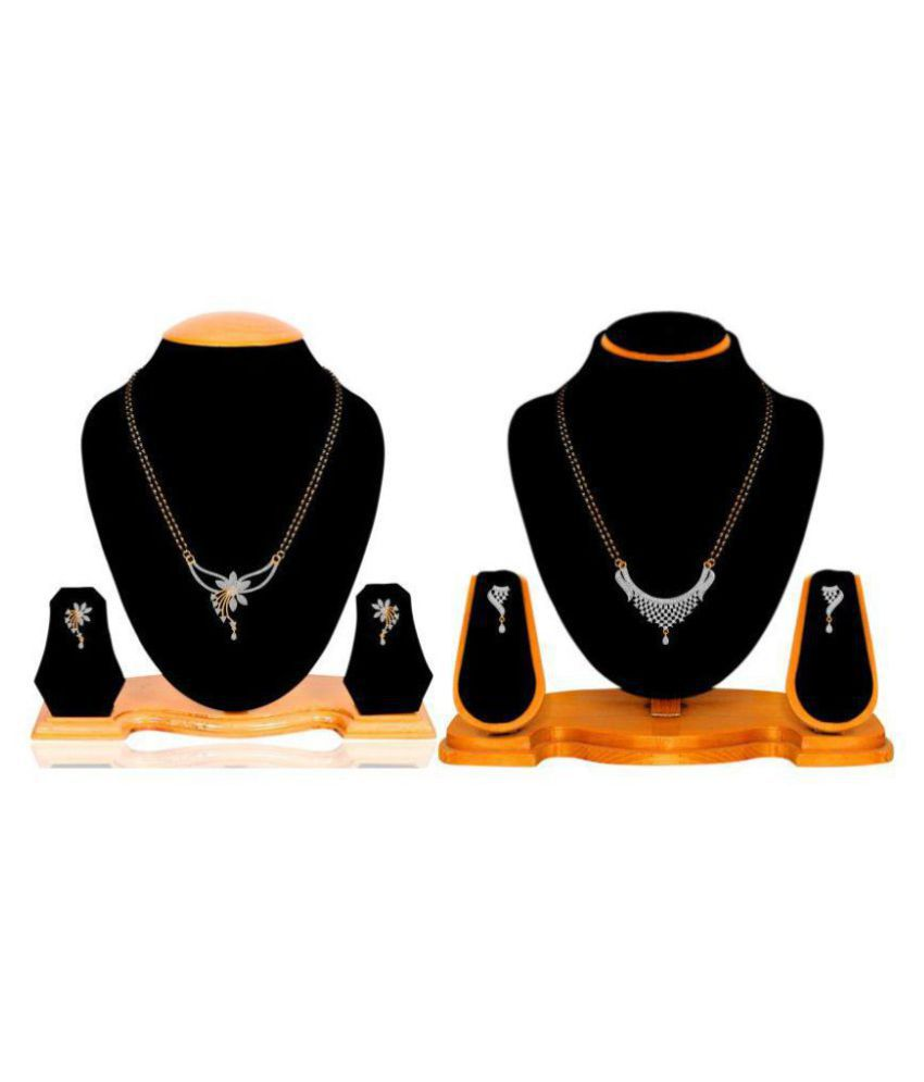 Navya Collection Gold Plated American Diamond Latest Design Mangalsutra Set Combo For Woman