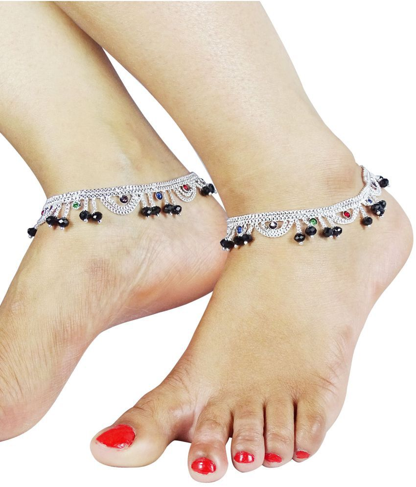 Fluck Alloy Silver Plated Crystal Studded Pair Of Anklets (Multicolor)