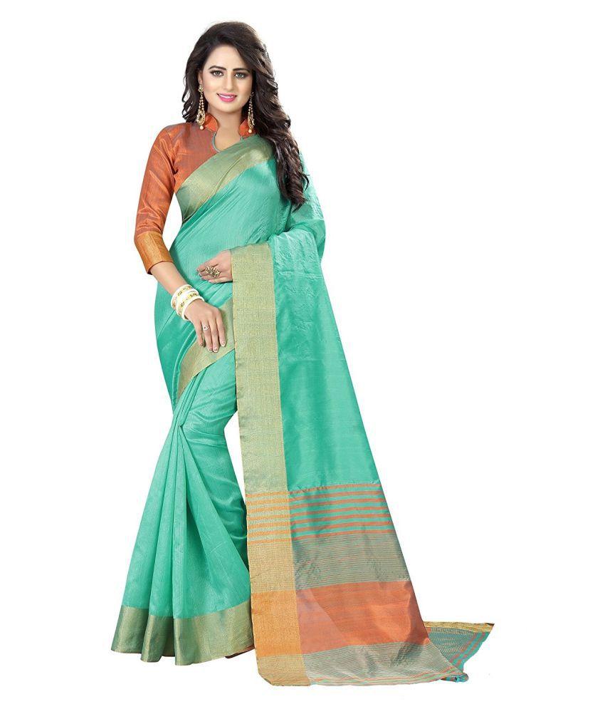 HashTag Fashion Green and Blue Cotton Silk Saree