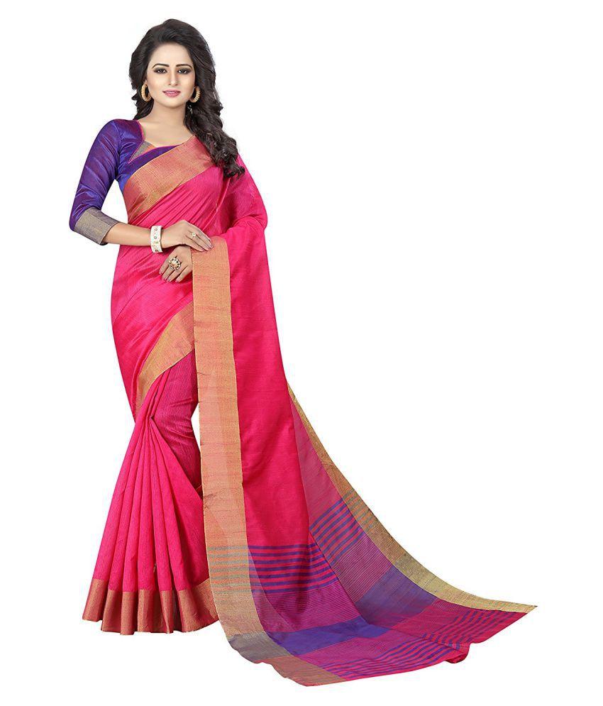 HashTag Fashion Pink Cotton Silk Saree