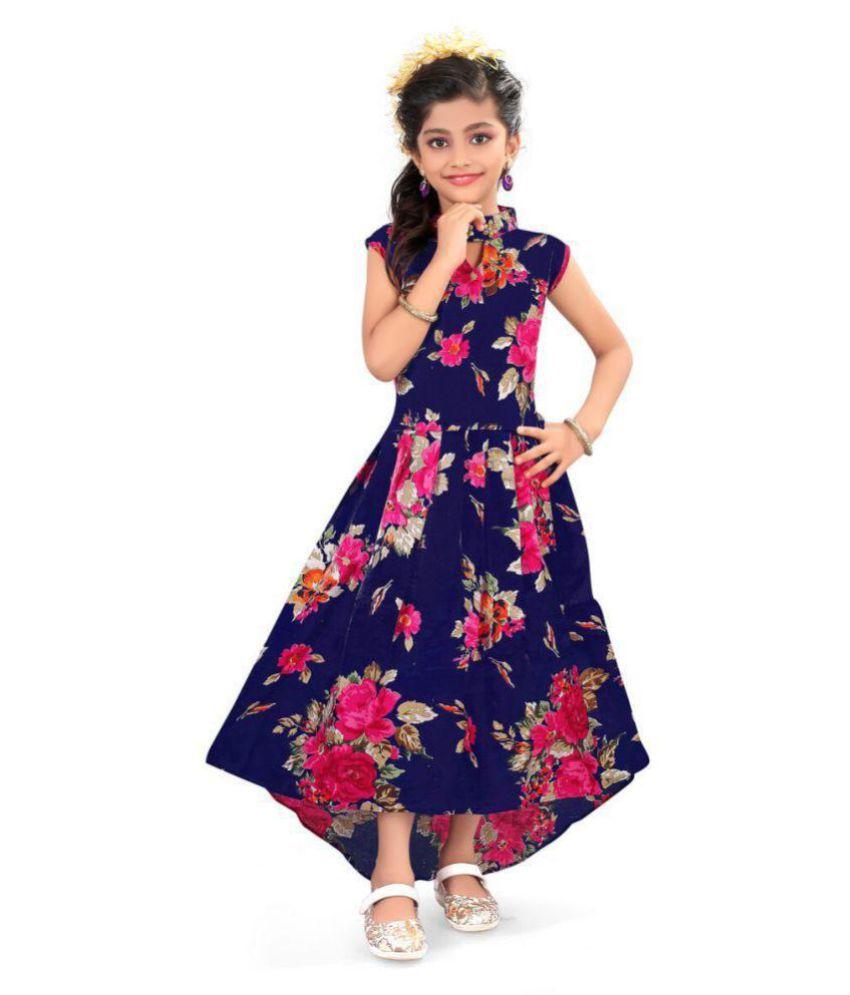 b52aabdd8 ... wear Dress Navy Blue with digital print - Buy Padmashri international  Girls Party wear Dress Navy Blue with digital print Online at Low Price -  Snapdeal