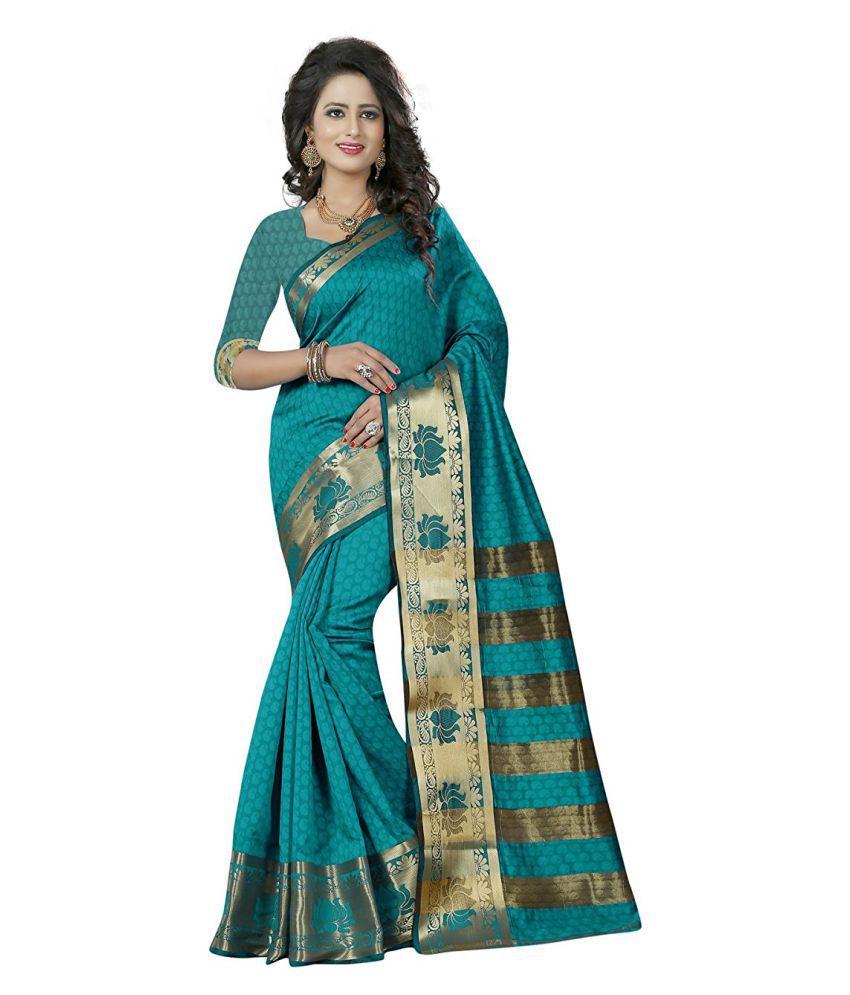 Varni Fashion Blue Jacquard Saree