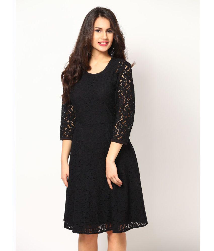 Fashion2wear Net Black A- line Dress