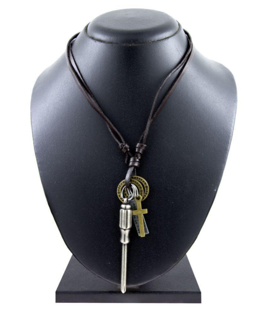 The Jewelbox Hip Hop Punk Screw Driver Cross Bronze Vintage Dog Tag Oxidised Leather Pendant Chain Boys